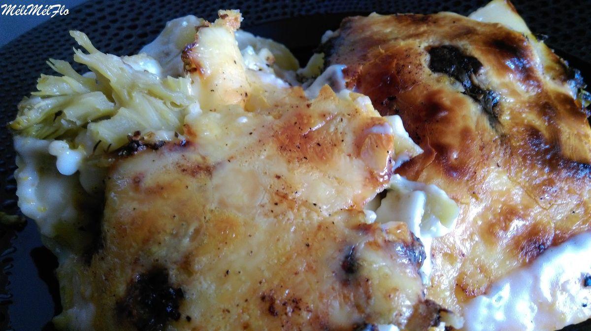 Gratin de brocolis, jambon et pommes de terre aux 3 fromages, ici part à la tome,