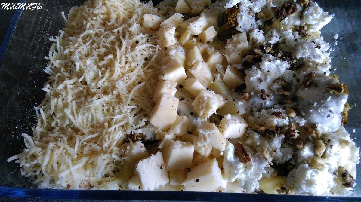 Gratin de brocoli, jambon et pommes de terre aux 3 fromages