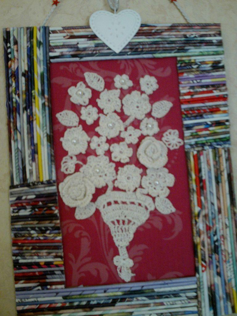 Fleurs au crochet: tableau déco
