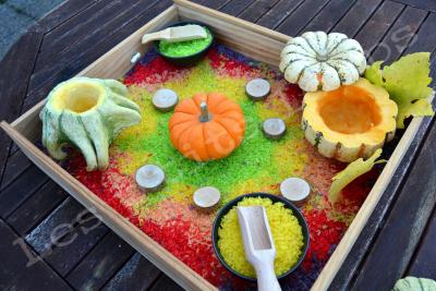 Bac sensoriel riz coloré