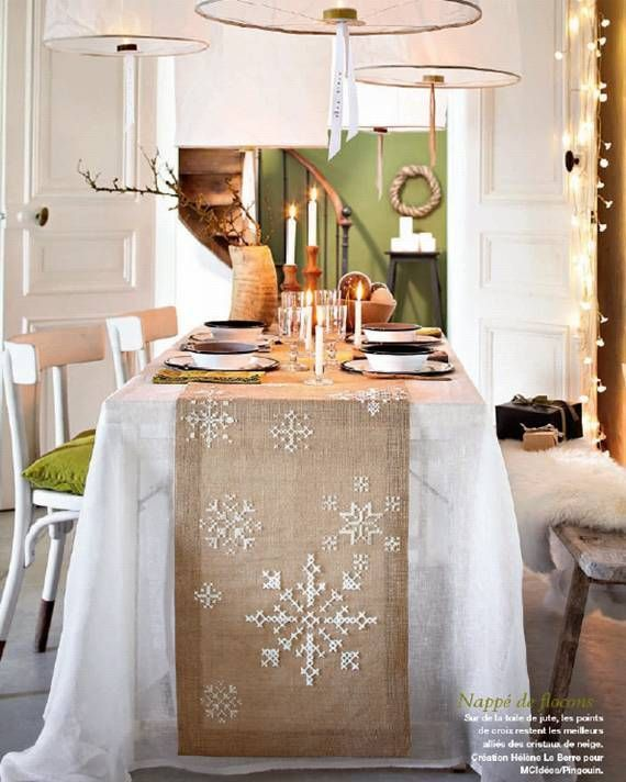 decoration table noel chemin de table toile de jute