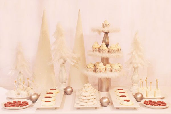 decoration candy bar noel en plume blanche