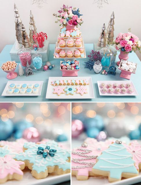 deco candy bar noel rose et bleu pastel