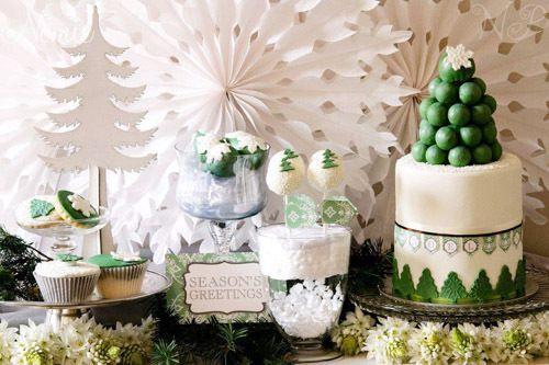 decoration candy bar de noel blanc et vert sapin