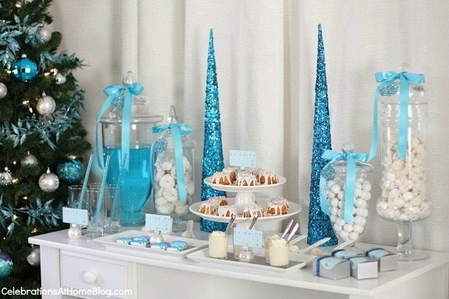 decorationcandy bar de noel blan cet bleu
