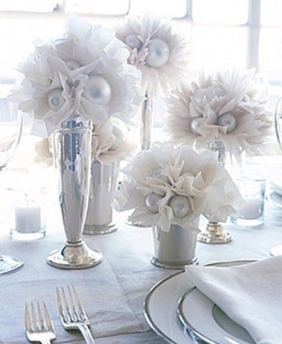centre de table mariage hiver decoration de table