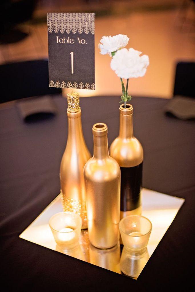 centre de table mariage bouteille
