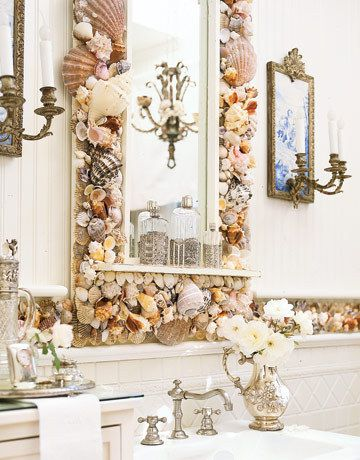 cadre coquillage miroir