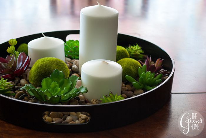 decoration table galet en mousse bougie