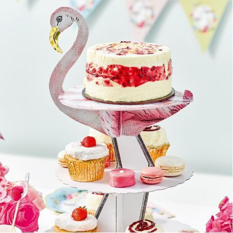presentoir cupcake flamant rose