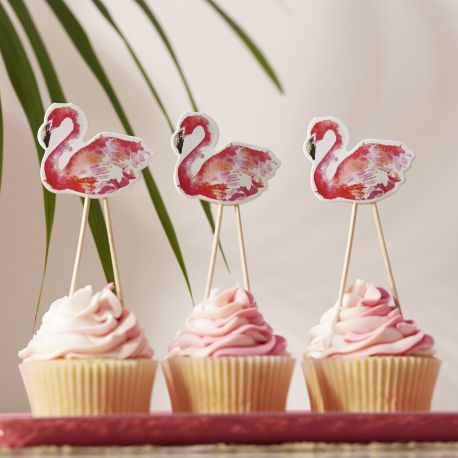 cake topper flamant rose deco cupcake