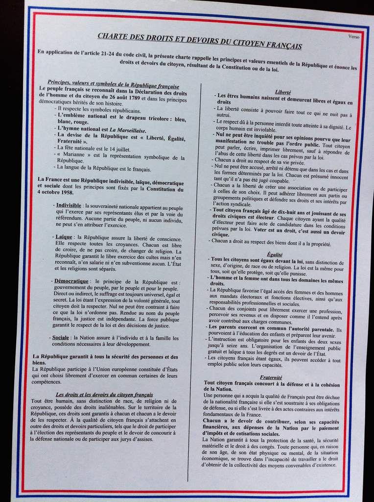 Charte des droits et devoirs du citoyen Français.