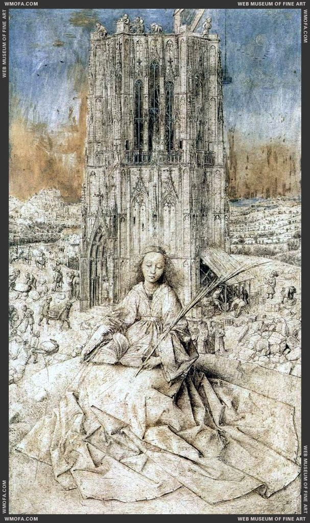 Sainte Barbe le tableau de Jan Van Eyck et détails avec la Loge