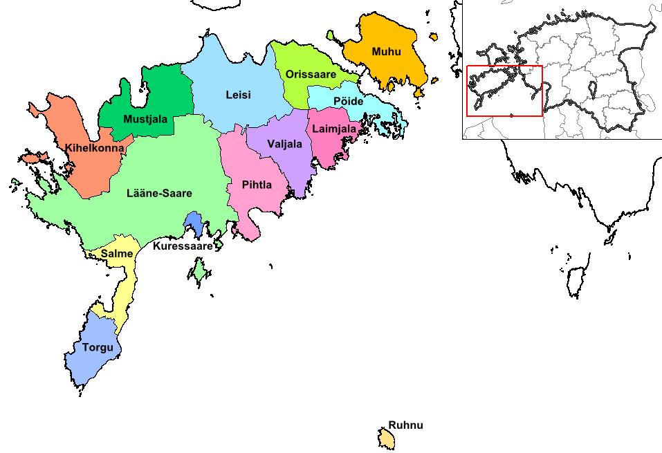 Carte des communes de la Région de Saaremaa