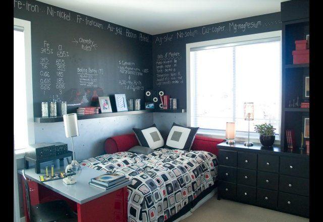 J'aime beaucoup l'idée de la peinture noire ardoise, idéal pour noter ses idées...