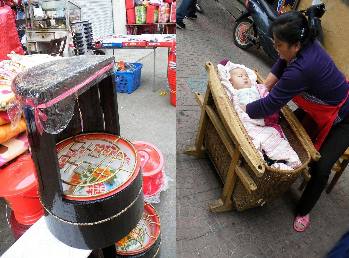 de drôles de sièges pour bébés et un berceau en bois