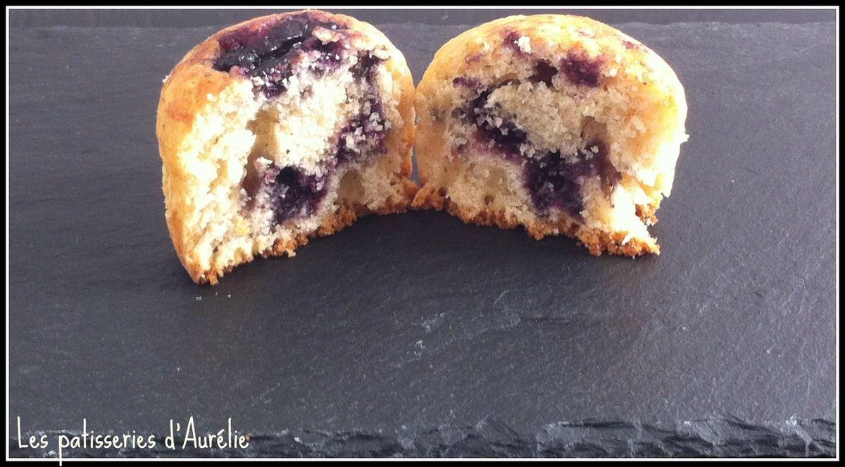 Muffins vanille cœur confiture myrtilles