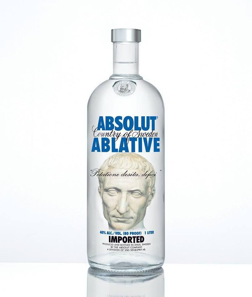 """Les amateurs d'alcool connaissaient la marque """"Absolut vodka"""" : voici désormais, grâce aux talents d'un retoucheur d'images féru de latin, la vodka """"ablatif absolu"""". Tout y est, même la citation de César (""""Potatione desita, defeci"""")."""