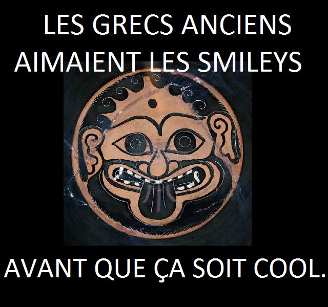 Coupe de Léagros montrant un gorgoneion, c'est-à-dire une tête de Gorgone. 520 av. J.-C. Paris, BNF, Cabinet des médailles, n°322.