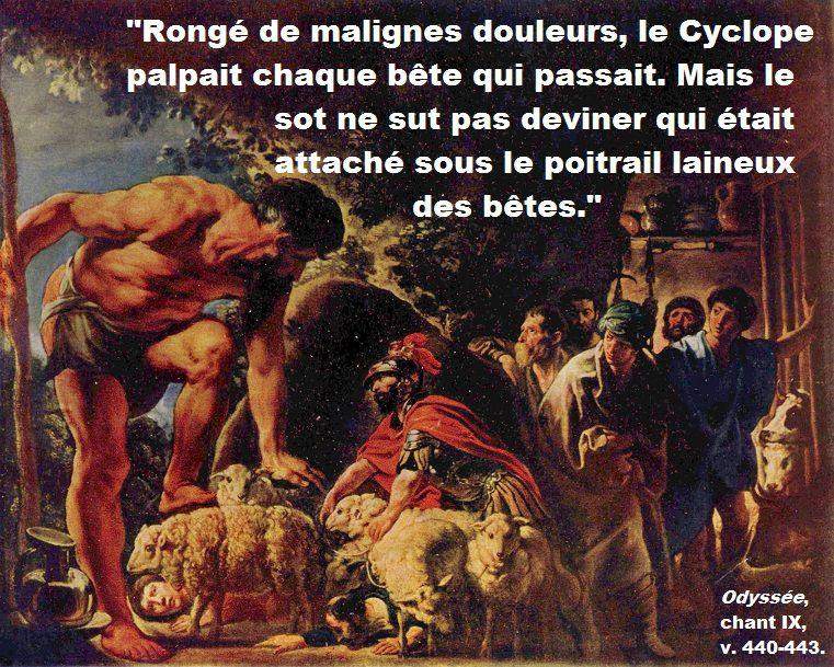 """Image : Jacob Jordaens, """"Ulysse dans la caverne de Polyphème"""", XVIIe siècle. Texte : traduction de Philippe Jaccottet."""