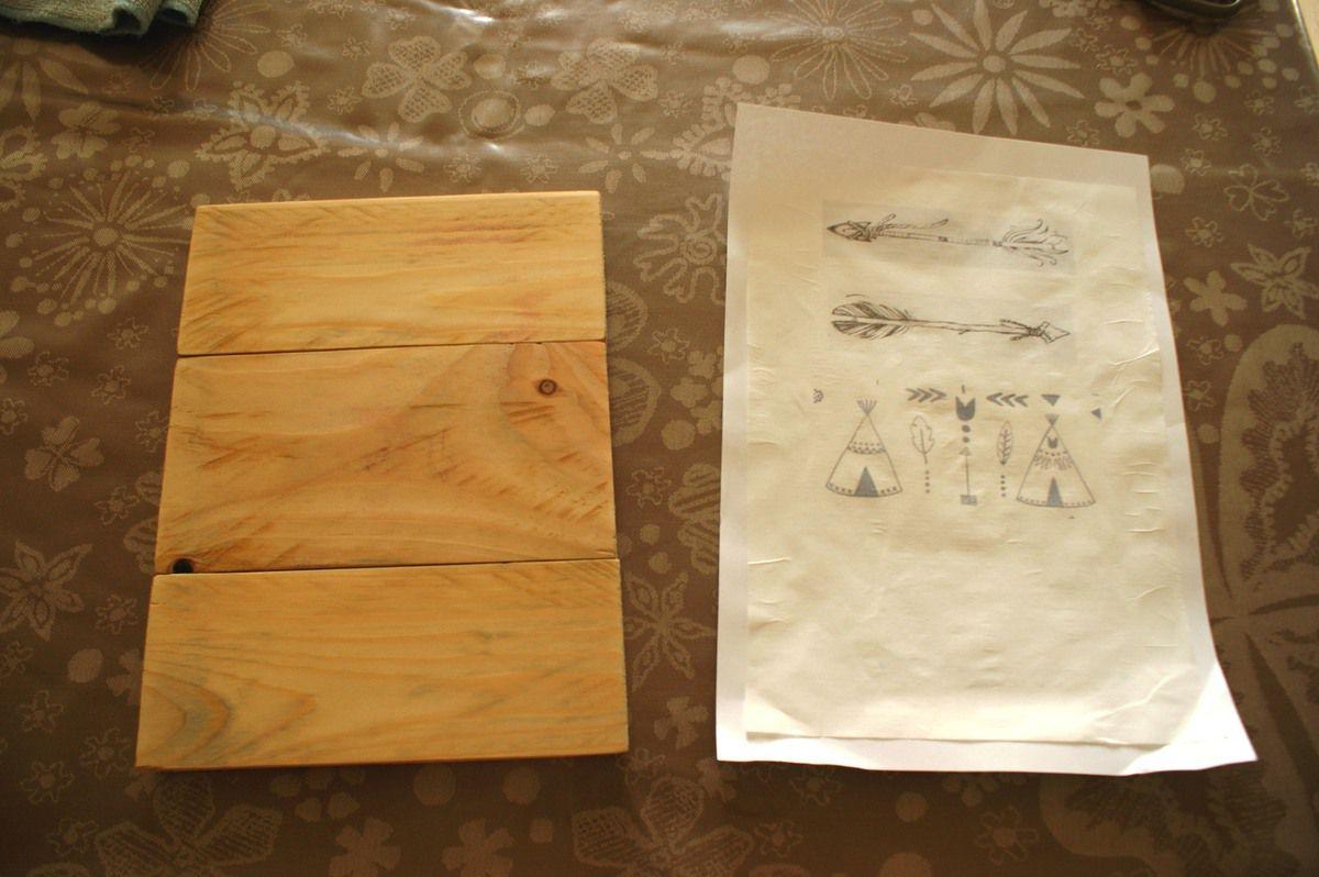 m thode de transfert d 39 image sur bois de palette. Black Bedroom Furniture Sets. Home Design Ideas