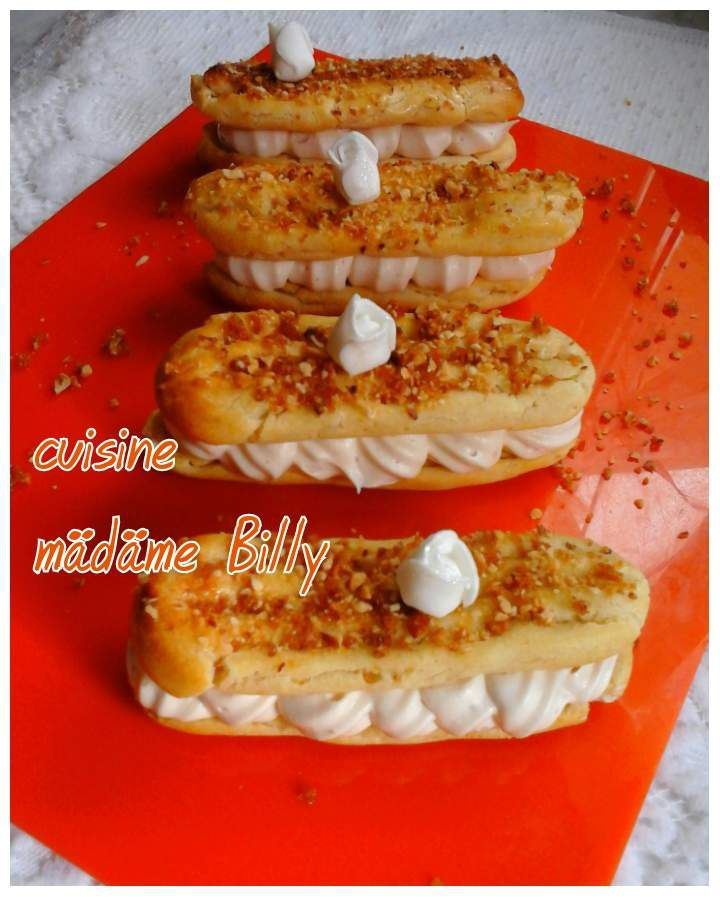 eclairs au chantilly pralin 233 e اكلير cuisine madame billy كوزين مدام بيلي