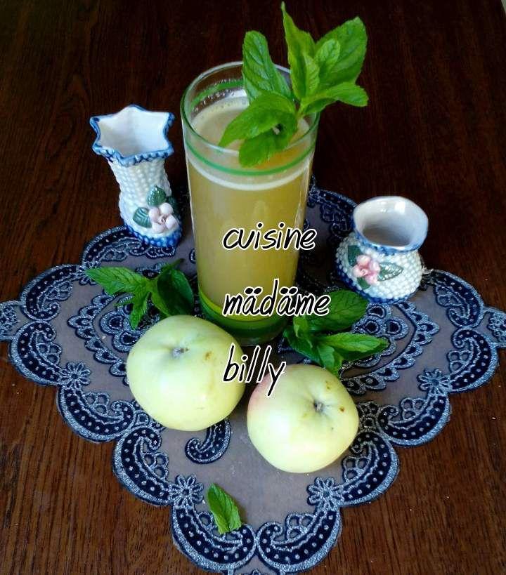Jus de pomme verte à la menthe et au citron عصير اللليمون والنعناع والتفاح