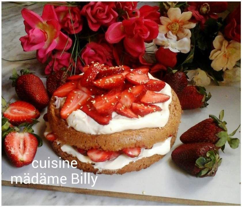 Gâteau génoise au fraise قاطو الجينواز بالفراولة