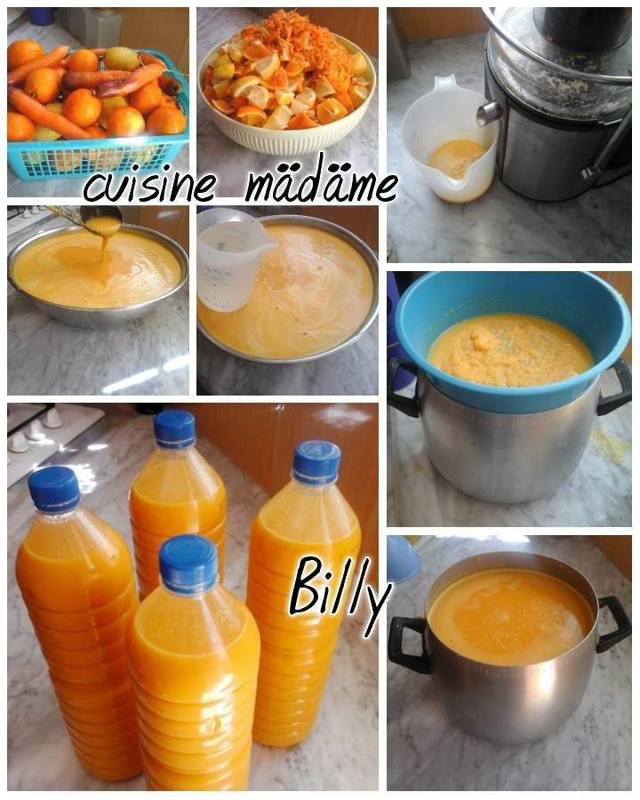Jus d'orange,  carottes et citron عصير الجزر،البرتقال والليمون