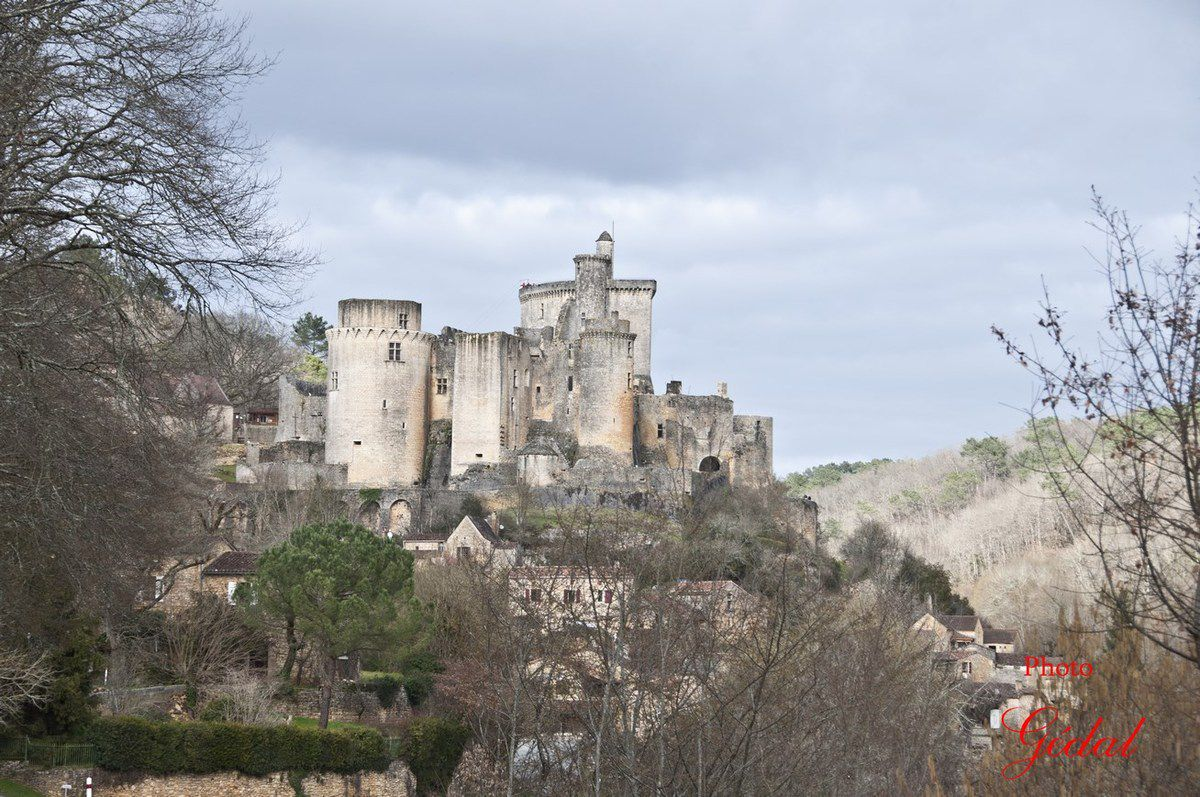 Première vue du château depuis la route.