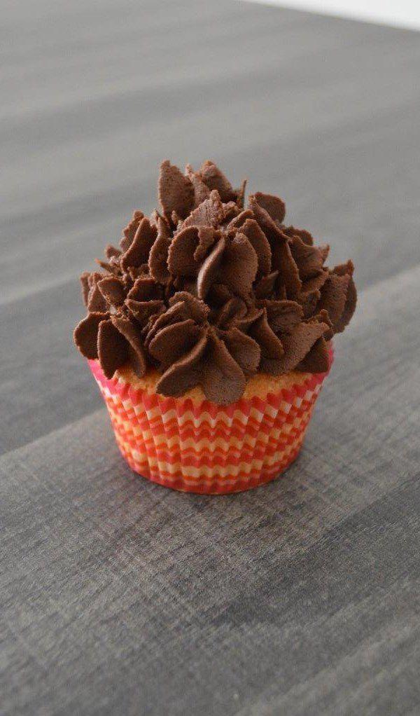 Cupcake marbré banania, ganache montée au chocolat