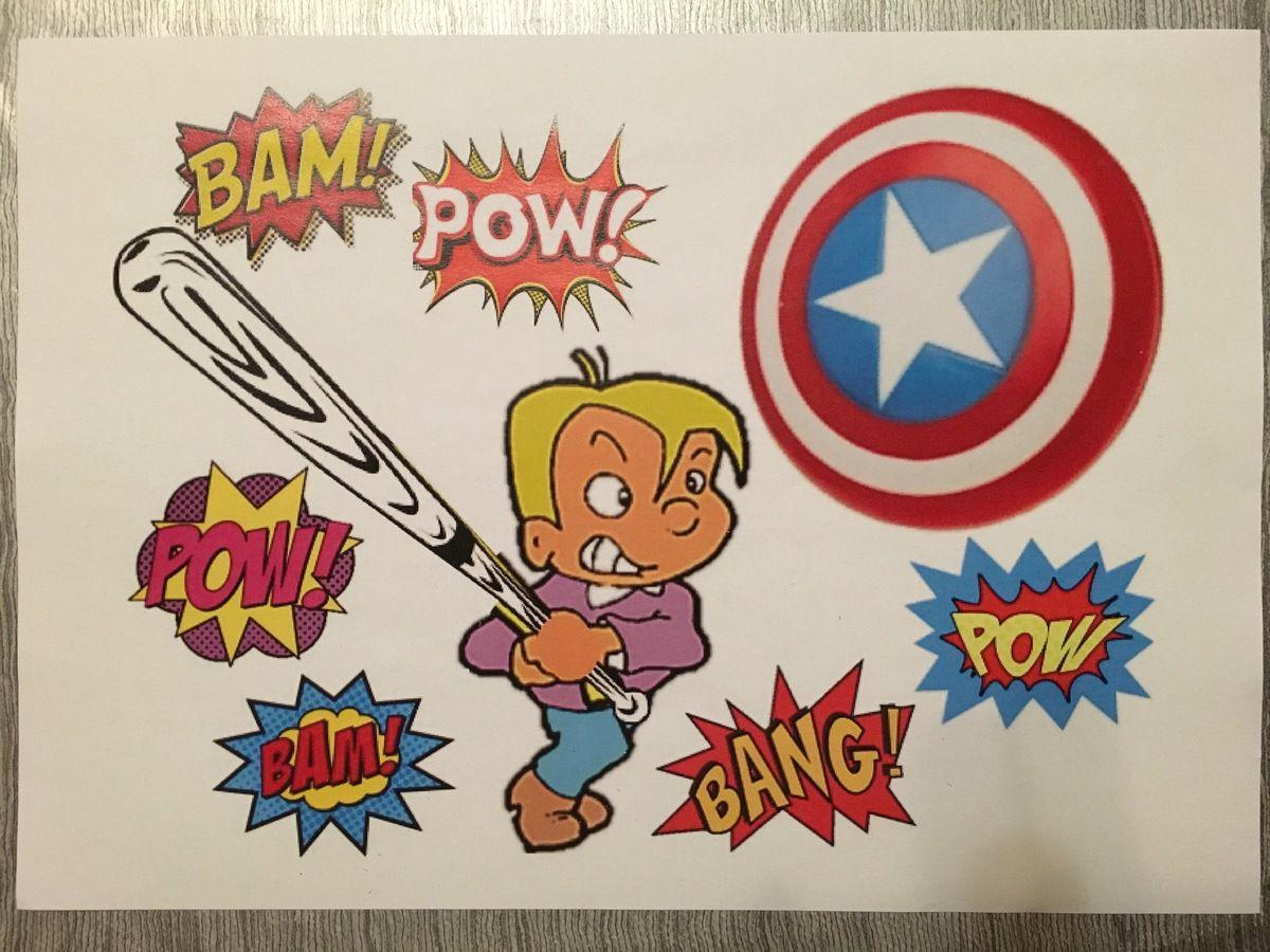 """D'abord, j'ai fait un montage avec différentes images pour que l'énigme soit assez explicite pour les enfants (un bouclier, un garçon avec une batte et des bulles """"comics"""" pour signifier le bruit lors de la destruction de la pinita)"""
