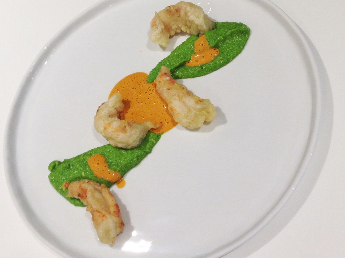 Tempura de langoustines, petits pois, sauce de langoustines