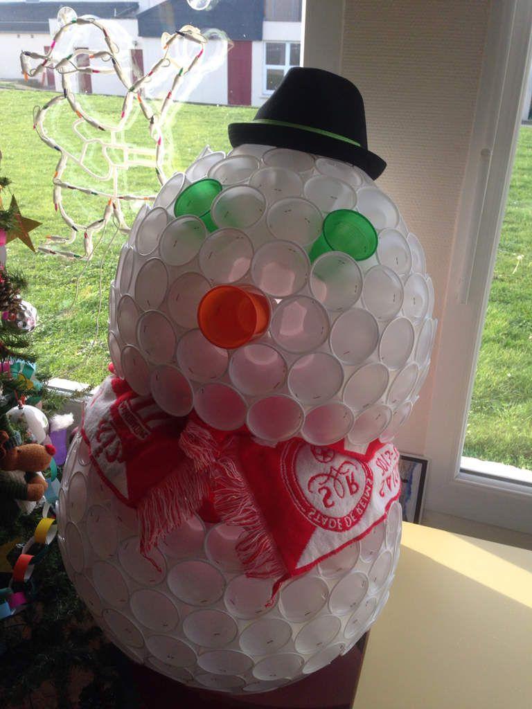 Bonhomme de neige en gobelets plastique - Bonhomme de neige en gobelet combien ...