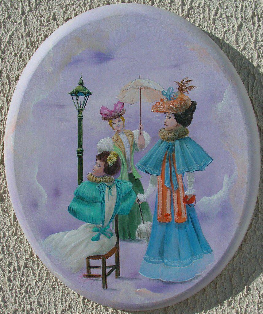 peinture sur toile ovale<50x40>