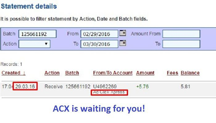 ACX Pays Members Everyday!!!