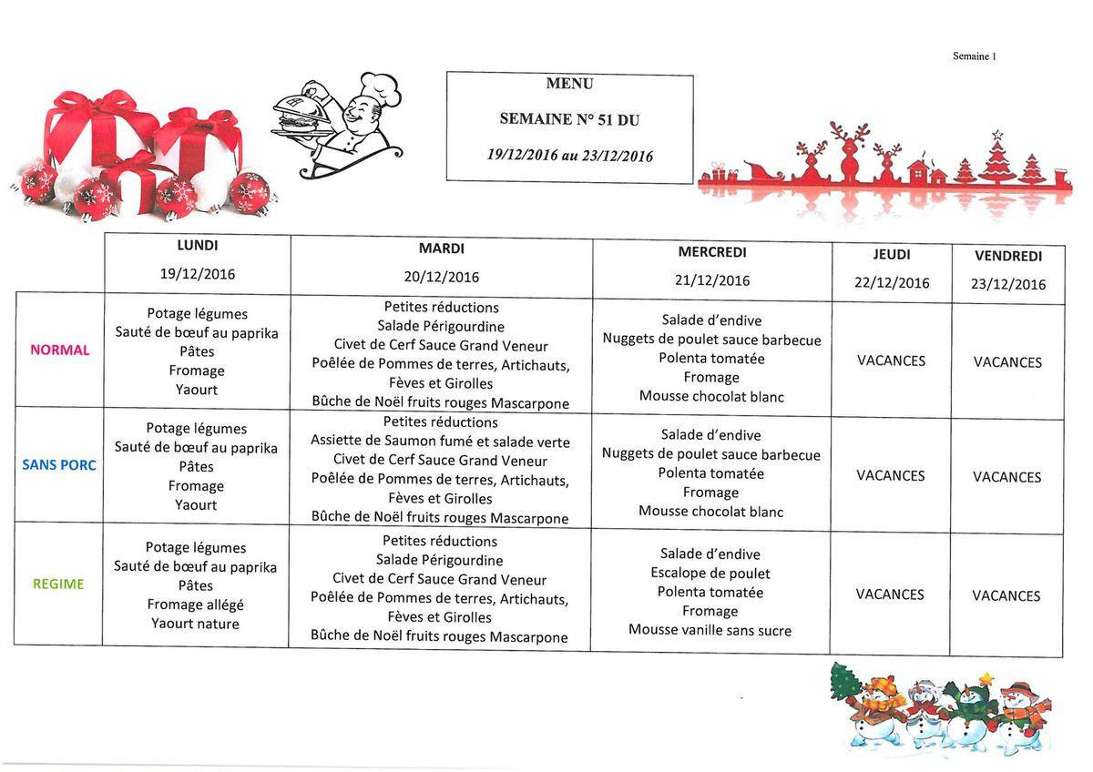 Semaine du 19/12/16 au 23/12/16- Rappel vacances de Noël du 22/12/16 au 02/01/17