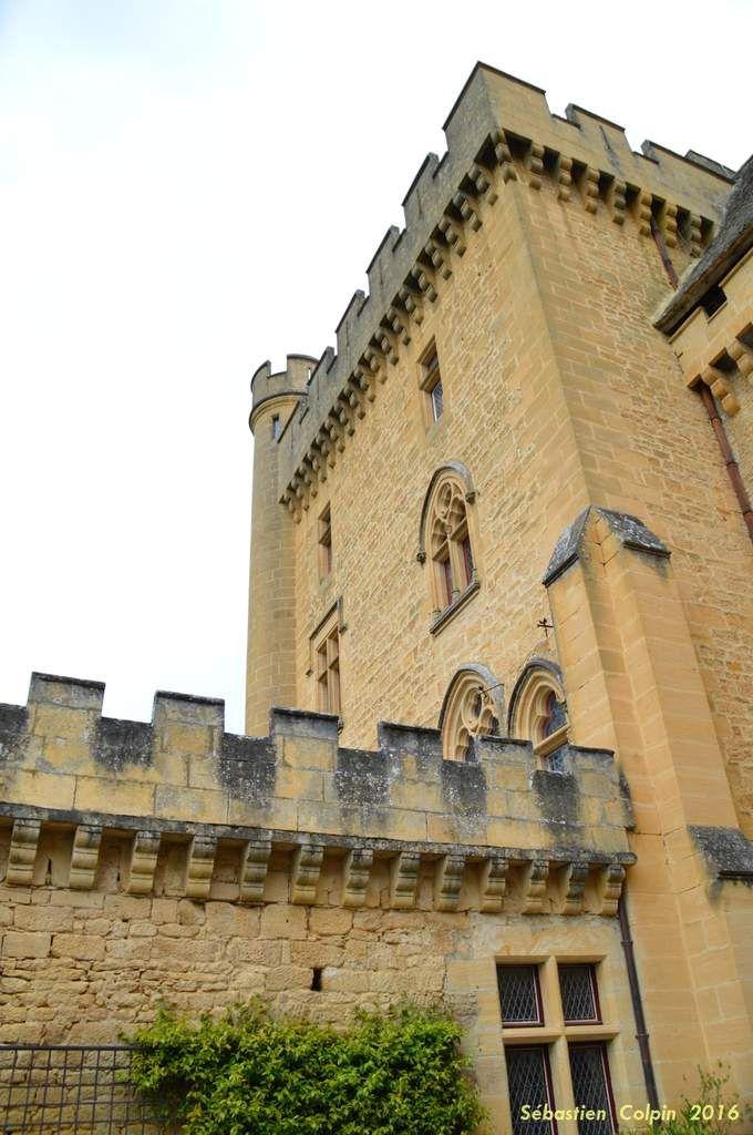 La date de la construction du Château de Puymartin remonterait au XIIIe siècle vers 1269. Les abbés de Sarlat le donnèrent en fief en 1271 à la famille des Serviens. Ce château n'était pas isolé, du haut de ses coteaux &#x3B; un village né de l'essor démographique du XIIe (aujourd'hui détruit), l'entourait en contrebas. Ce château était aussi à la frontière entre la France et l'Angleterre quand commença la Guerre de Cent Ans en Périgord. Une trêve de deux ans fut conclue en 1356 entre Jean Le Bon (après sa défaite lors de la bataille de Poitiers) et son cousin, Edouard III d'Angleterre. La France restant sans roi, elle ne fut pas respectée et des mercenaires anglais commirent toutes sortes de vols, saccages, pillages dans la région, en Périgord et notamment à Sarlat. Ils prirent d'assaut Puymartin, qui tomba entre leurs mains le 8 janvier 1357. Les pratiques guerrières fort connues de ces mercenaires (attaques, entre autres, de convois marchands allant vers Sarlat), les Sarladais décidèrent d'envoyer leurs représentants (les Consuls) afin de monnayer leur départ à l'aide d'une forte rançon. Et, pour parer toute nouvelle occupation du site, les créneaux, les remparts des murs et toitures du château furent ôtés, détruits et les planchers arrachés. Puymartin resta en ruine durant toute la Guerre de Cent Ans.   En 1450, Radulphe de Saint-Clar reprit le château et il envisagea sa reconstruction ainsi que son extension. Des moyens financiers importants permirent la réalisation de tels travaux. Au fil des générations, conflits et procès opposèrent les seigneuries de Puymartin et de Commarque, dus en grande partie à la reprise de biens ayant appartenu à celle de Commarque affaiblie par les Saint-Clar. La construction de Puymartin avait été prévue afin de lutter contre la puissance du Seigneur de Beynac, alors propriétaire de Commarque (Commarque aujourd'hui est une superbe ruine). Au XVIe siècle, Raymond de Saint-Clar (petit fils de Radulphe), chef des Catholiques en Périgo