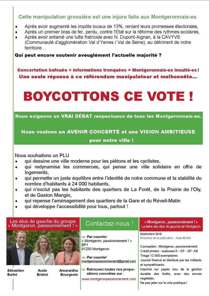 #Montgeron Créons les conditions d'un vrai débat, boycottons le référendum!