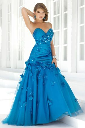 Beading Handmade Flower Pleats Sweetheart A-Line Formal Gown