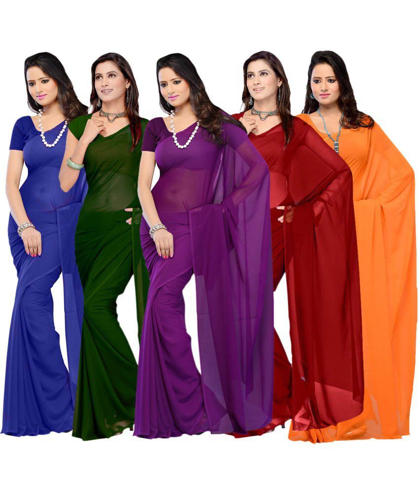 650c722ee http    Buy Gitanjali Fashions Multi Color Faux Georgette Plain Saree With  Blou... from Snapdeal