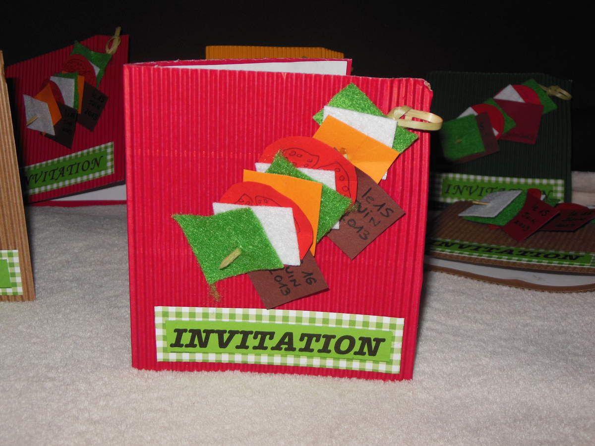 une carte pour une invitation à un BBQ - carte brochette...