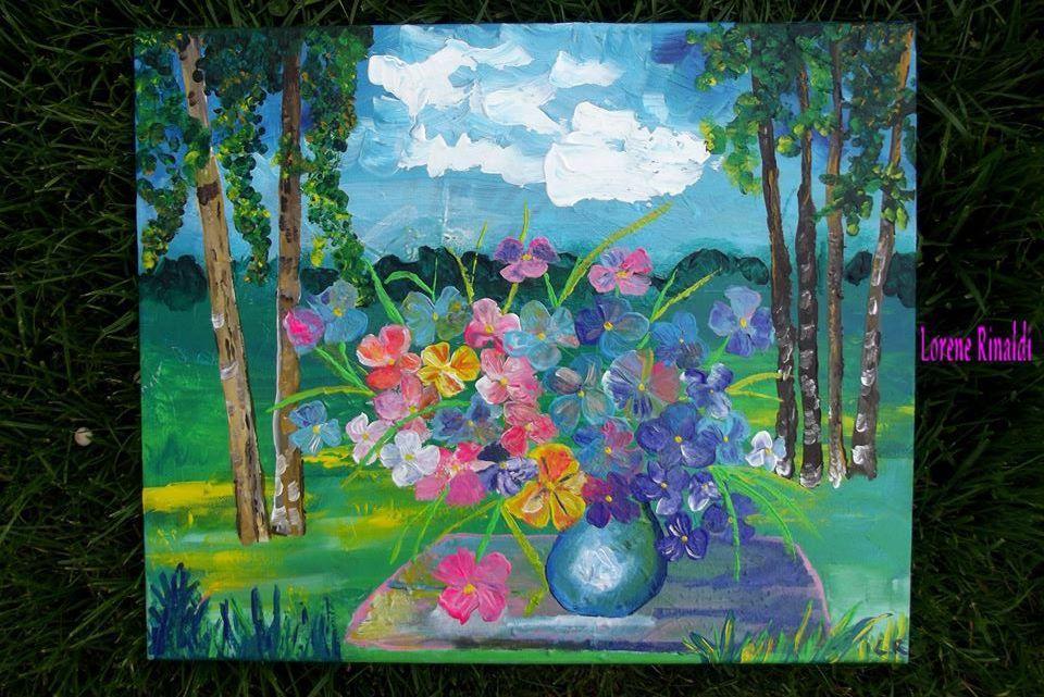 Assis dans l'herbe  38/46 cm Toile coton Prix 150euro