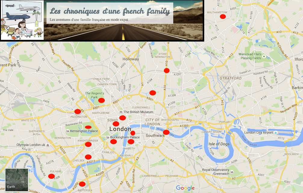 Road trip in London (point rouge = visite)