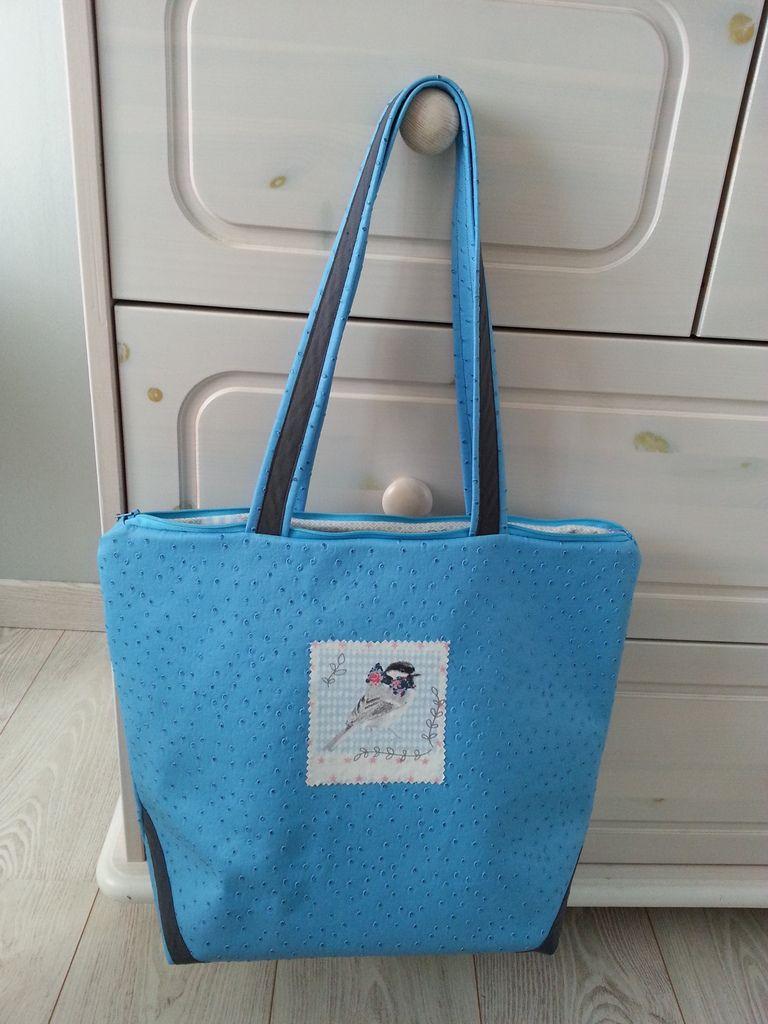 Tuto sac pastel grand cabas bleu en simili cuir autruche les loisirs de diane - Tuto grand sac cabas ...
