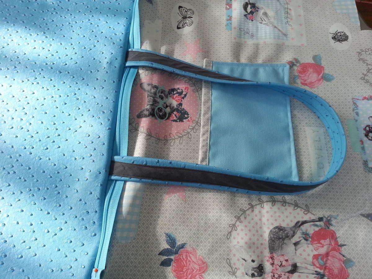 Tuto sac pastel grand cabas bleu en simili cuir autruche - Tuto grand sac cabas ...