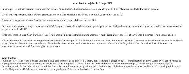 TF1 officialise Yann Barthès pour la rentrée