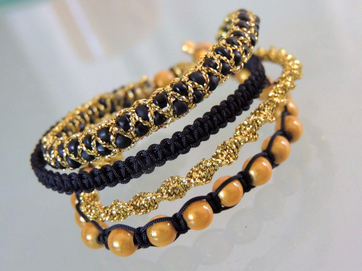 bracelet manchette compos de 4 bracelets macram inspiration mini hipanema les confections. Black Bedroom Furniture Sets. Home Design Ideas
