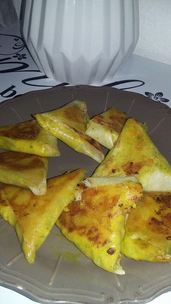 Samoussas de pomme de terre jambon curcuma curry