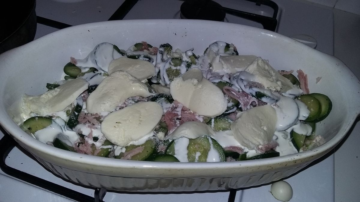 Gratiné de courgettes jambon mozzarella
